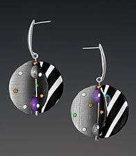 "Wings Earrings Round - Black White Mix by Arden Bardol (Polymer Clay Earrings) (2"" x 1"")"