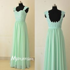 Mint Green Cap Sleeves Chiffon Long Bridesmaid Dress With Lace Top , Low Back