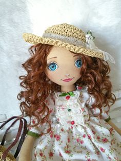 Brown Hair Blue Eye Handmade Doll Cloth Doll от LepiskaBebek