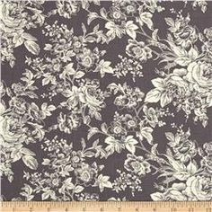 Quartette Collection Large Floral Grey. Fabric.com