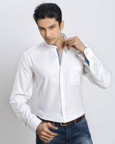 WHITE-BLUE CHINESE COLLAR SHIRT Jaihind Retail   Men Online Shopping   Mens Clothing in Pune Chinese Collar Shirt, Groom Wear, Men Online, Pune, Collar Shirts, Pyjamas, Men Fashion, Party Wear, Online Shopping