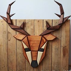 Poligon wooden animal trophies are lined with geometric patterns that form realistic animal features on these faux animal heads. Wooden Art, Wooden Decor, Wooden Walls, Wood Wall Art, Wood Projects, Woodworking Projects, Woodworking Wood, Wooden Reindeer, Wooden Animals