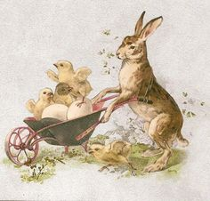 bumble button: Free Clip art Antique Victorian Easter Postcard Images, Bunnies Eggs and Sweet Chicks
