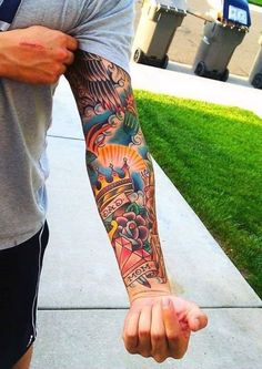 Sailor Jerry Forearm Sleeve Tattoo Designs On Men