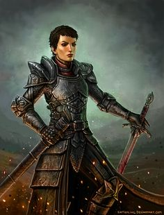 Dragon Age - Cassandra by SirTiefling female paladin knight fighter armor clothes clothing fashion player character npc   Create your own roleplaying game material w/ RPG Bard: www.rpgbard.com   Writing inspiration for Dungeons and Dragons DND D&D Pathfinder PFRPG Warhammer 40k Star Wars Shadowrun Call of Cthulhu Lord of the Rings LoTR + d20 fantasy science fiction scifi horror design   Not Trusty Sword art: click artwork for source