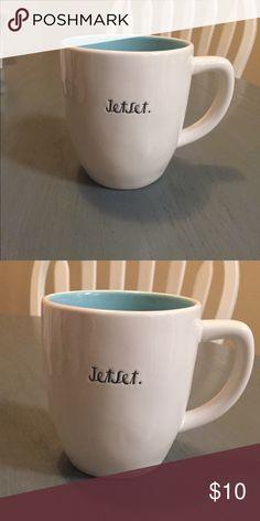 Rae Dunn Jetset mug Rae Dunn jetset mug. White exterior with baby blue interior. No cracks. Packaged with care. Rae Dunn Other