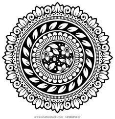 Circular pattern in form of mandala with flower for Henna, Mehndi, tattoo, decoration. Decorative ornament in ethnic oriental style. Mandala Doodle, Easy Mandala Drawing, Mandala Art Lesson, Doodle Art Drawing, Mandala Artwork, Mandala Painting, Lotus Flower Art, Flower Mandala, Flower Henna