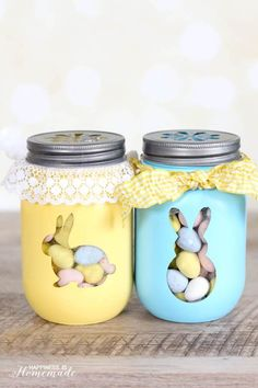 Easy Easter Decorations For The Home: Easter Mason Jars Easter Crafts For Seniors, Easter Crafts For Adults, Easy Easter Crafts, Easter Crafts For Kids, Easy Diy Crafts, Crafts To Sell, Easter Gift, Bunny Crafts, Easter Party
