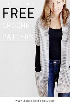 Crochet Waffle Stitch, Pull Crochet, Quick Crochet, Chunky Crochet, Free Crochet, Crochet Shawls And Wraps, Crochet Scarves, Crochet Clothes, Crochet Sweaters