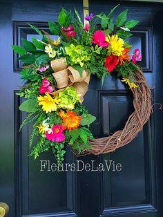 FREE SHIPPING Summer Wreaths Hydrangea Wreaths by FleursDeLaVie