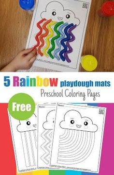 Free 5 playdough mats for preschoolers perfect for spring season and Easter holiday. your kid will enjoy this colorful activity, learn more about colors and improve fine motor skills Preschool Color Activities, Playdough Activities, Free Preschool, Kindergarten Activities, Learning Activities, Preschool Activities, Rainbow Playdough, Preschool Coloring Pages, Kids Education