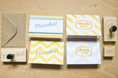 Hand-stamped thank you Moo greeting cards with kraft envelopes.