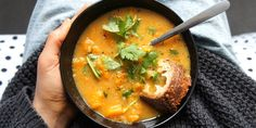 Chunky butternut squash miso soup with miso and black pepper butter