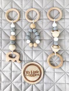 X3 bebé de madera y silicona juego gimnasio juguetes /