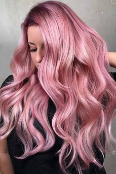 pink hair Rose gold hair color will definitely make you stand out, creating a girlish and vivid image. Is going rose gold for youLets find out! Hair Lights, Light Hair, Gold Hair Colors, Hair Color Pink, Cool Hair Color, Purple Hair, Mermaid Hair Colors, Purple Rose, Blonde Color