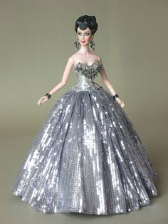 fashion doll, silver dress