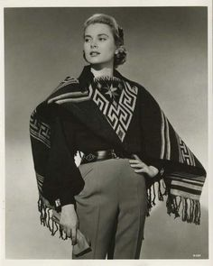 Grace Kelly in an amazing poncho, 1950s.