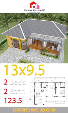 House Plans with 2 Bedrooms Hip roof - House Plans House Layout Plans, Small House Plans, House Layouts, House Floor Plans, Roof Replacement Cost, 2 Bedroom House Plans, Hip Roof, Roof Structure, Living Room Color Schemes
