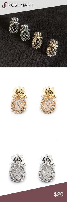 Pineapple Earrings with Rhinestones It's pineapple season! These gorgeous latticed pineapple Earrings are decorated with studs. Available in gold or silver. Stud earrings are 2.7cm long. Boutique Jewelry Earrings