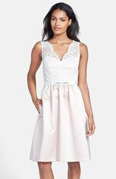 After Six Embellished Lace Contrast Satin Fit & Flare Dress