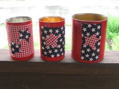 Upcycled July 4 cans by UponASunnyDay on Etsy, $10.00