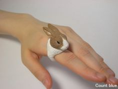 Polymer clay bunny ring by Count Blue (Jiro Miura)