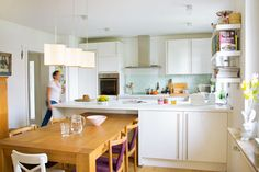 """this table/island combo works even though it doesn't matchup perfectly Remodeling house in Germany - modern - kitchen - other metro - Lisa Nieschlag """"Liz & Jewels"""" White Kitchen Cabinets, Kitchen Cabinet Design, Kitchen Dining, Dining Room, Eclectic Kitchen, Scandinavian Kitchen, Houses In Germany, Kitchen Peninsula, Kitchen Island"""