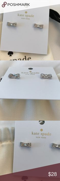 Authentic Kate Spade Ready Set Bow earrings Kate Spade Silver Pave Bow earrings. Clear silver earrings. Dainty. Super cute. NWT. Dust bag included. kate spade Jewelry Earrings