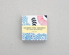 Dessous de verres / carreaux de céramique / motif par HirundoShop