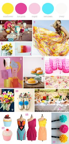#summer #pink #yellow #turquoise #spring #details #board #colorful #colors #flowers