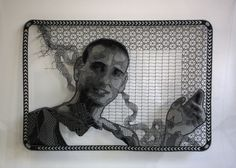 Pierre Fouché. Portrait of Guy Nardy (2009-2012). Bobbin lace in polyester floss. 570 x 400mm. Private Collection