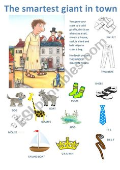 The smartest giant in town - ESL worksheet by majcek Talk 4 Writing, Julia Donaldson Books, Baby Sensory Play, English Resources, Vocabulary Worksheets, Class Activities, Eyfs, Book Crafts, Literacy