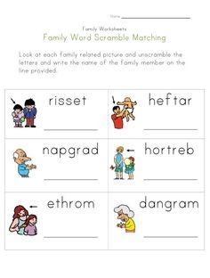 family word scramble worksheet