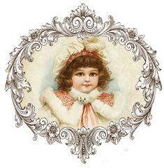 Vintage image of a little brunette girl in a peach winter dress with fur trim. Victorian Picture Frames, Victorian Pictures, Vintage Pictures, Vintage Images, Christmas Past, Christmas Pictures, Christmas Crafts, Photo Craft, Diy Photo