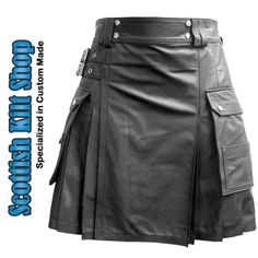 Men's Leather Kilt with Twin Cargo Pockets
