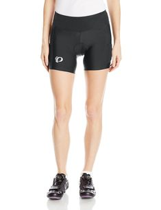 Pearl iZUMi Women's Escape Sugar Shorts, Black/Black, Medium. Spring/summer 2017. Select transfer Dry fabric sets the benchmark for compression and moisture transfer. Women's Select pursuit 1:1TM Chamois is smooth next to skin for cushioned chafe-free comfort. UPF 50+. flattering wide waistband for superior comfort. BioViz reflective elements for low-light visibility. BioViz Black/screaming pink color option for added daylight visibility. Fabric: 88% Nylon/12% Lycra Elastane Silicone leg...