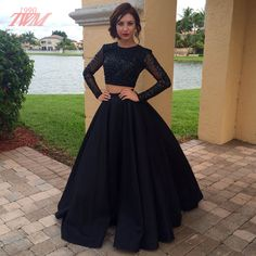 Black Two Pieces Long Sleeve Prom Dresses