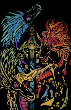 Legend of Zelda Breath of the Wild art > Dragons : Naydra, Dinraal, Farosh Zelda Tattoo, Pokemon, Geniale Tattoos, Legend Of Zelda Breath, Wind Waker, Video Game Art, Video Games, Fan Art, Twilight Princess