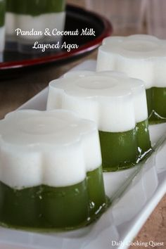 A green and white Indonesian pandan and coconut milk layered agar that is easy enough for midweek, yet impressive enough for a party. Plus, they happen to be vegan friendly and gluten-free! Cocnut Milk, Filipino Recipes, Filipino Food, Sweet Recipes, Vegan Recipes, Delicious Desserts, Dessert Recipes, Malaysian Food, Asian Desserts