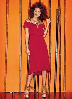 Off-the-shoulder sultry dress. View all mark./Avon fashions at https://www.youravon.com/crookardpolite #avonrep #avon mark #avon fashion
