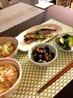 和食でほっこり(*^_^*) - 3件のもぐもぐ - 鰯のかば焼き 和風ポテトサラダ ひじきと豆の煮物  梅きゅうり by ponkikikko