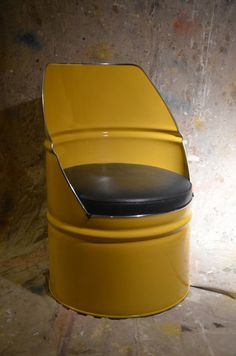 Industrial Furniture Barrel Chair w/ vinyl padded seat. Choose your own color!