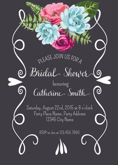 Floral Chalkboard Bridal Shower Invitation Bridal Shower