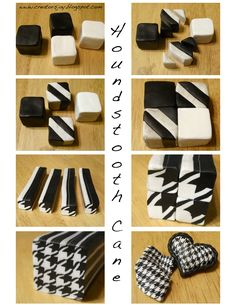 houndstooth. This is for polymer clay but I can see doing this with regular black and white clay then glazing in transparent
