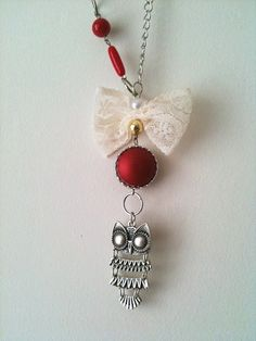 Owl Necklace with white bow and red beads by ArtofAccessory, $23.99