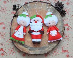 Navidad árbol de Navidad de Papá Noel rellenos de felpa Santa Claus adornos Sra. Noel felpa decoraciones fieltros ornamentos de la Navidad