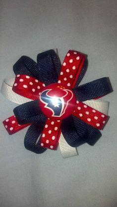 Medium Houston Texans Polka Dot Loopy Hair Bow by JillyBeans2012, $6.00