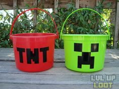 Creeper & TNT Buckets - for treat bags I bought  6 red and 6 green buckets at Partycity.com and a roll of black duct tape and made 12 of them for under 15 bucks.