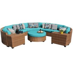 Outdoor TK Classics Laguna Wicker 8 Piece Patio Conversation Set with Cup Table and 2 Sets of Cushion Covers Beige / Wheat Outdoor Wicker Patio Furniture, Patio Furniture Sets, Furniture Buyers, Furniture Layout, Curved Sofa, Rattan Sofa, Grey Cushions, Sofa Set, Aqua Blue