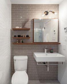 15 Modern Bathroom Vanities For Your Contemporary Home Midcentury modern bathroom Ikea bathroom Powder room Bathroom inspiration Specchio bagno Mirror ideas Beautiful Small Bathrooms, Amazing Bathrooms, Bathroom Small, Downstairs Bathroom, Dorm Bathroom, Simple Bathroom, Bathroom Pink, Bathroom Colors, Contemporary Bathrooms